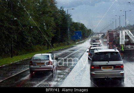 BFRY41 A rainy day on the motorway from London to West Country in England stock photo by john rocha
