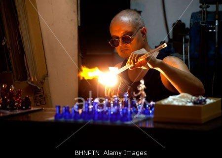 Craftsman in the Medina Glassworks in Malta