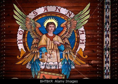 An angel painted on the medieval  ceiling of Saint Peter's Church in Thanet, Kent, England stockphoto by John Rocha