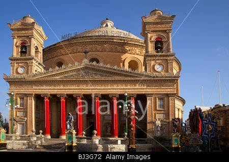 The Rotunda of St Marija Assunta (The Assumption of the Virgin Mary), in Mosta, Malta decorated  for the 15th August Festival stockphoto by john rocha at johnrochaphoto.net