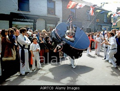 May Day Hobby Horse In Padstowe In Cornwall In England stockphoto by john rocha