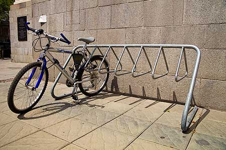 Bicycle Parked outside the law coursts in Sofia, Bulgaria, stock photo by John Rocha