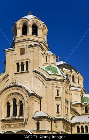 Snow on the facade and domes of the Alexander Nevsky Memorial Cathedral Church in Sofia, Bulgaria
