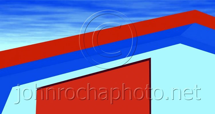 Red and Blue Roof and Wall in Thassos Photo by John Rocha at johnrochaphoto.net
