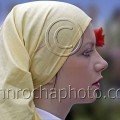 Photo Galleries: a bulgarian folk dancer wearing a scarf with a rose in her hair