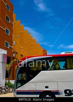 Hotel in Hurghada in Egypt with tour bus by John Rocha at johnrochaphoto.net