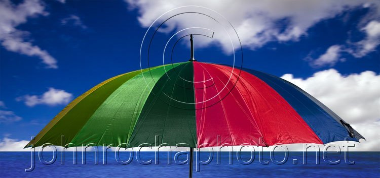 Colourful Beach Umbrella by the Sea at Dover