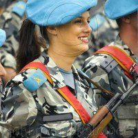 Blue Beret Soldier with her Weapon Portraits From Bulgaria