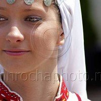 Folk Dancer with Traditional Headdress Portraits From Bulgaria