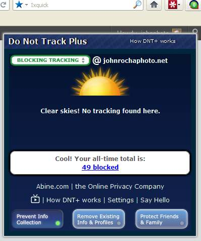 Do not track plus screenshot shows no tracking cookies at johnrochaphoto